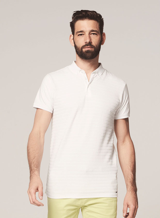 Polo Honeycomb Stretch | White