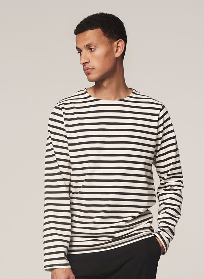 Boat neck Stripe Acid washed