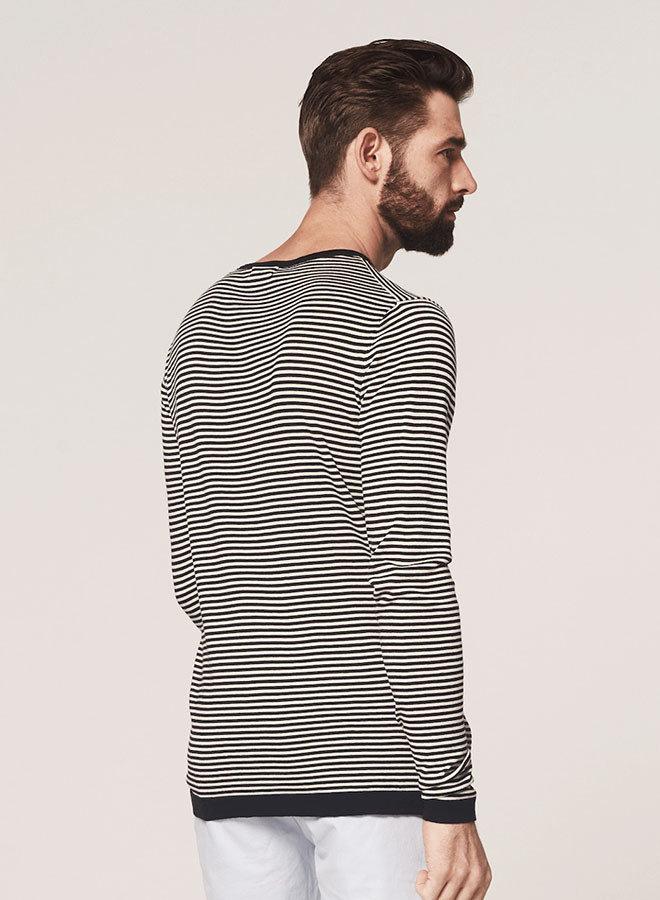 Crew Knit Stripe Cashmere Like Cotton |  Black  White