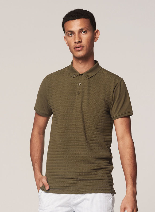Polo Honeycomb Stretch | Army Green