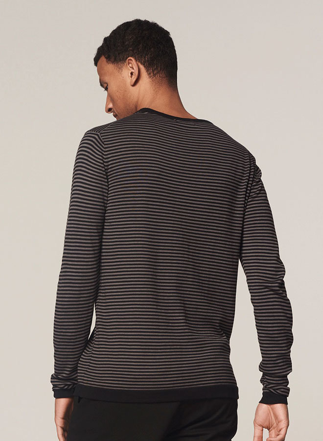 Crew Knit Stripe Cashmere Like Cotton | Grijs Zwart