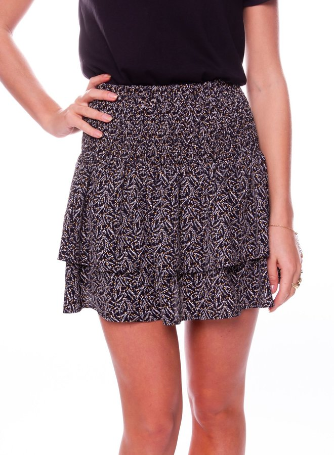 Daphne Ditzy Floral Two Layer Skirt Women |  Black White