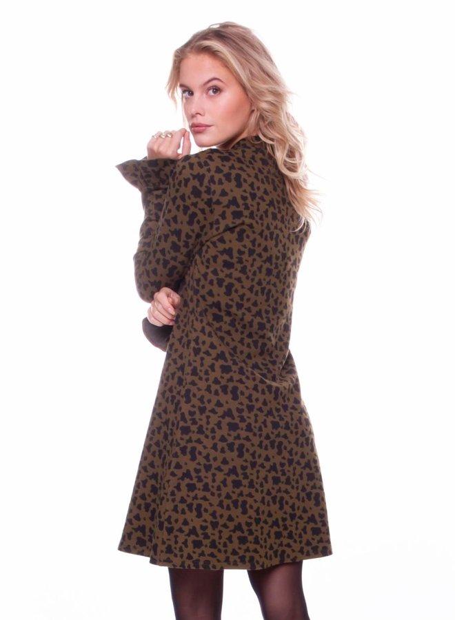 Robbie Leopard A-line Jacquard Dress Women |  Army
