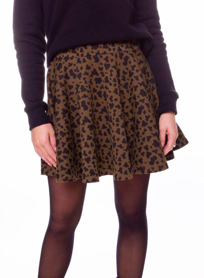 Robin Leopard Jacquard Skater Skirt Women | Army