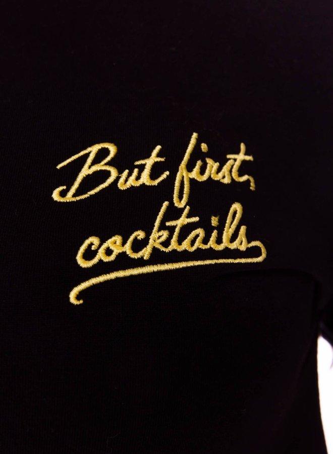 But First Cocktails Classic Tee Women   Zwart