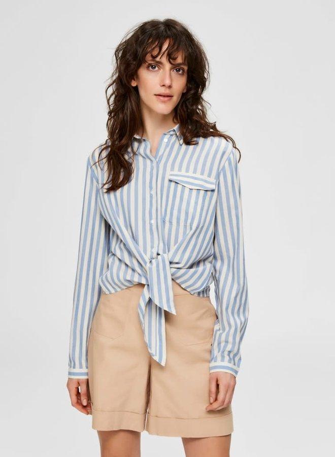 Zenia Ls Shirt | Blauw Wit