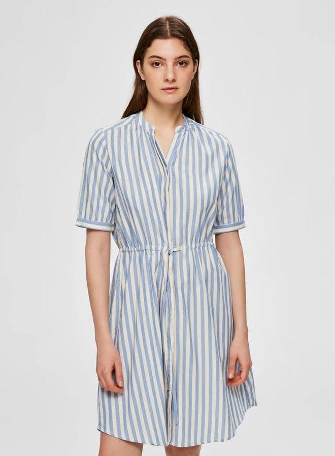 Zenia 2/4 Dress | Blauw Wit