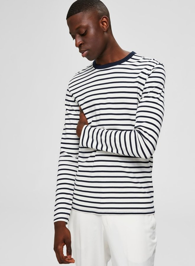 Melrose Stripe Longsleeve   Blauw Wit