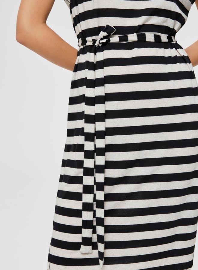 Ivy Knee Dress Gestreept   Zwart Wit