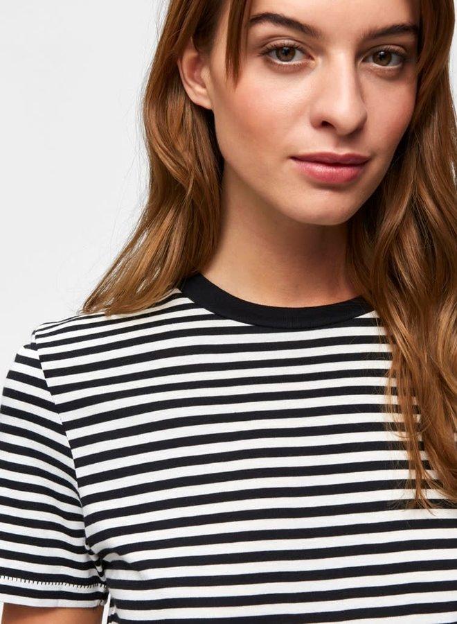My Perfect Tee Box Cut Stripe | Zwart Wit