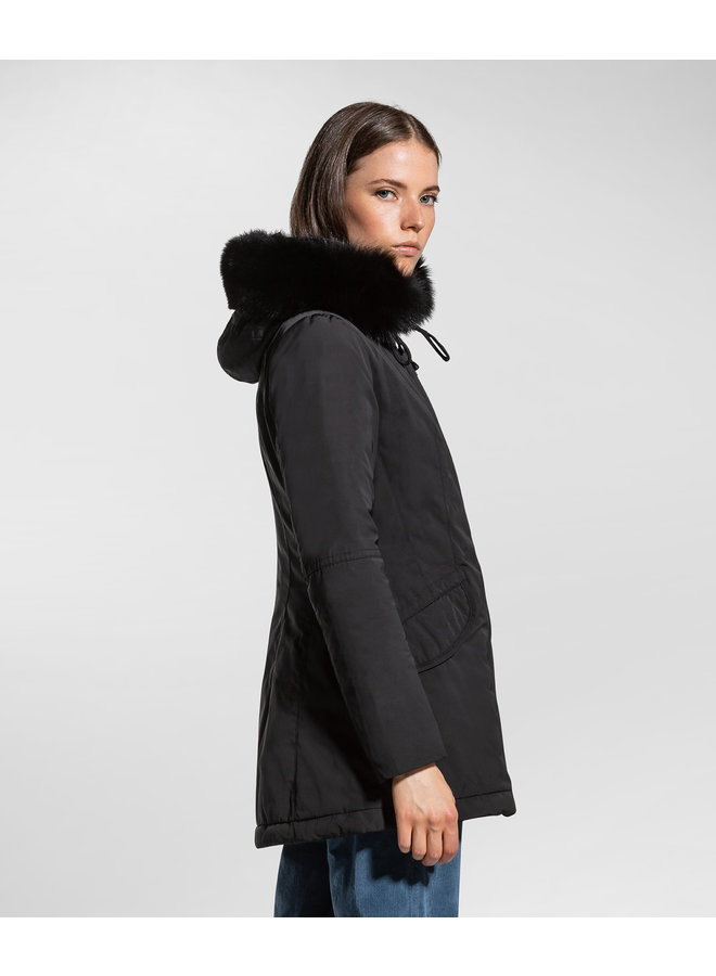 PEUTEREY SMOOTH DOWN JACKET WITH HIGH COLLAR - BLACK