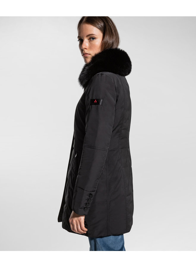 PEUTEREY SLIM FIT JACKET WITH FUR - BLACK