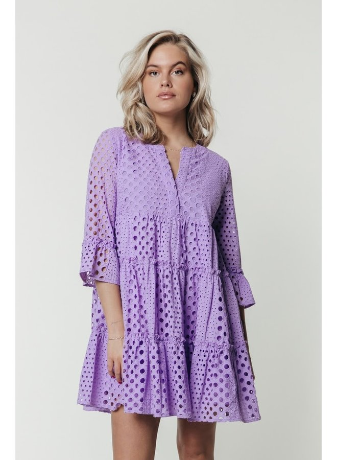 Colourful Rebel - Indy Broderie Anglaise Boho Dress Lilac