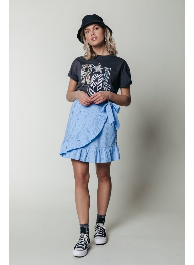 Colourful Rebel - Shelby Broderie Anglaise Wrap Skirt - Blue