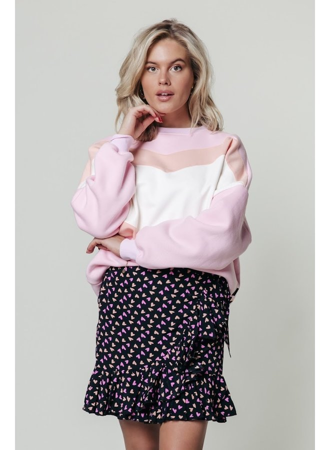 Colourful Rebel - Shelby Hearts Wrap Skirt - Black/Pink