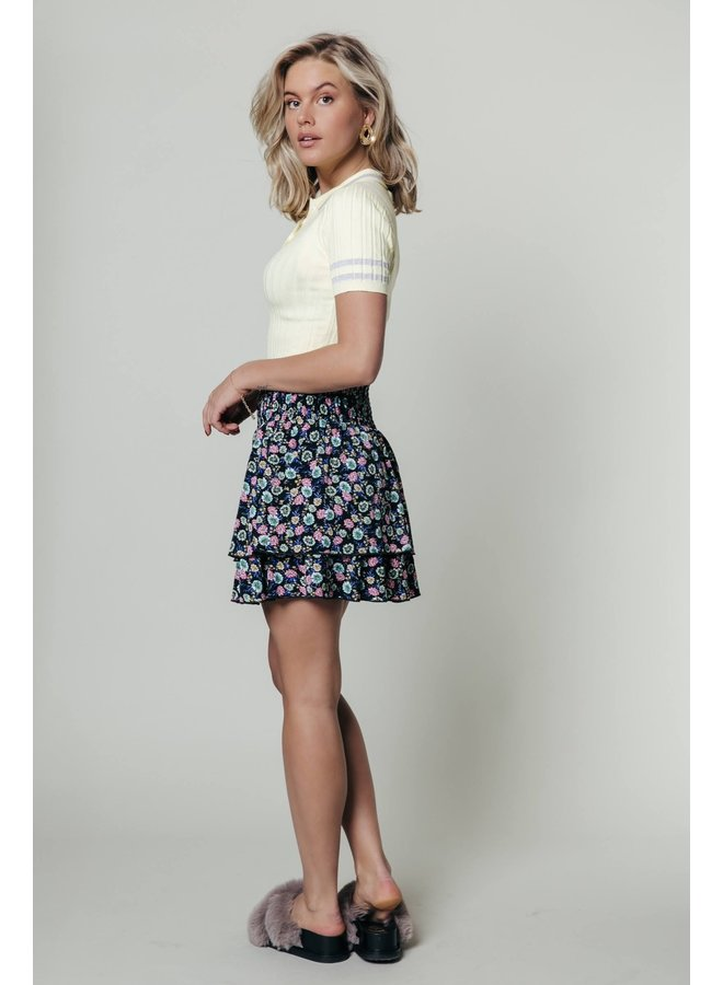 Colourful Rebel -Daphne Flower Two Layer Skirt - Multicolor
