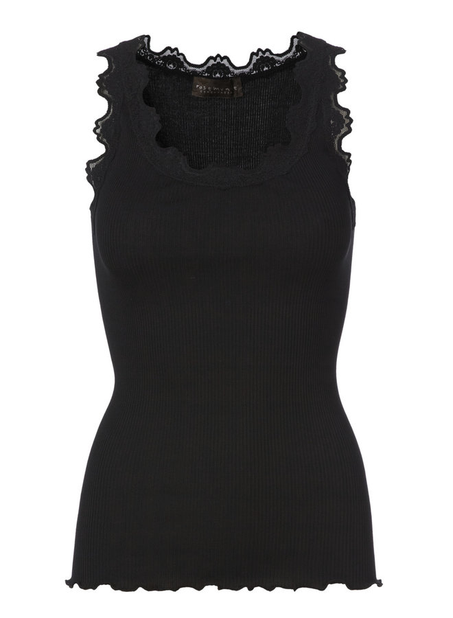 Rosemunde ICONIC SILK TOP WITH LACE - Black