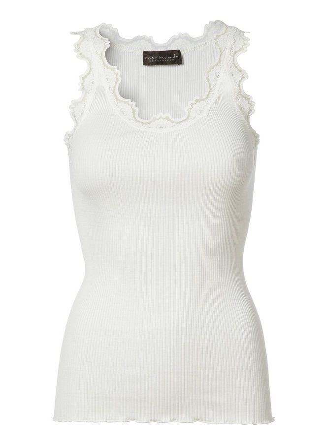 Rosemunde ICONIC SILK TOP WITH LACE - New White