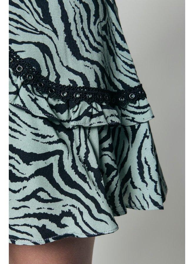 Colourful Rebel - Maud Zebra Tape Mini Skirt Green