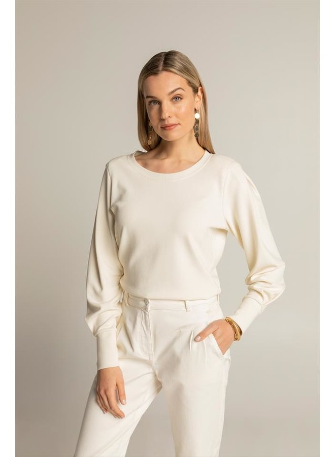 Expresso - Top met keperstructuur - Off-white