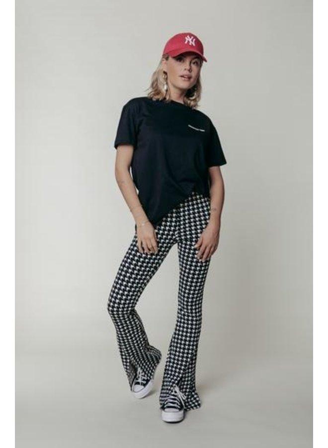 Colourful Rebel - Darcy Slit Flare Pants - Black/White