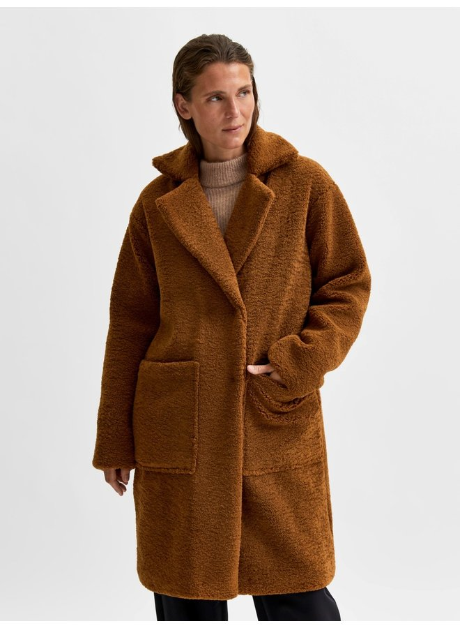 Selected Femme - Teddy Coat - Rubber