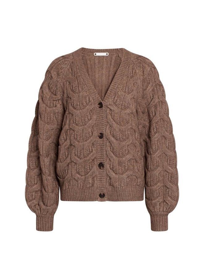 Co Couture - Jenesse Cable Cardigan - Walnut