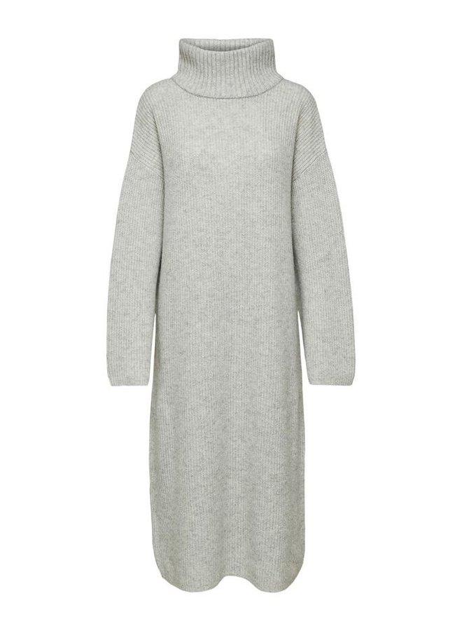 Selected Femme - Gebreide jurk met col - Grijs