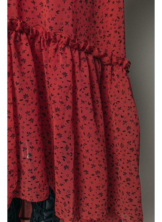Colourful Rebel - Penny Ditzy Floral Maxi Ruffle Dress   Rust Orange