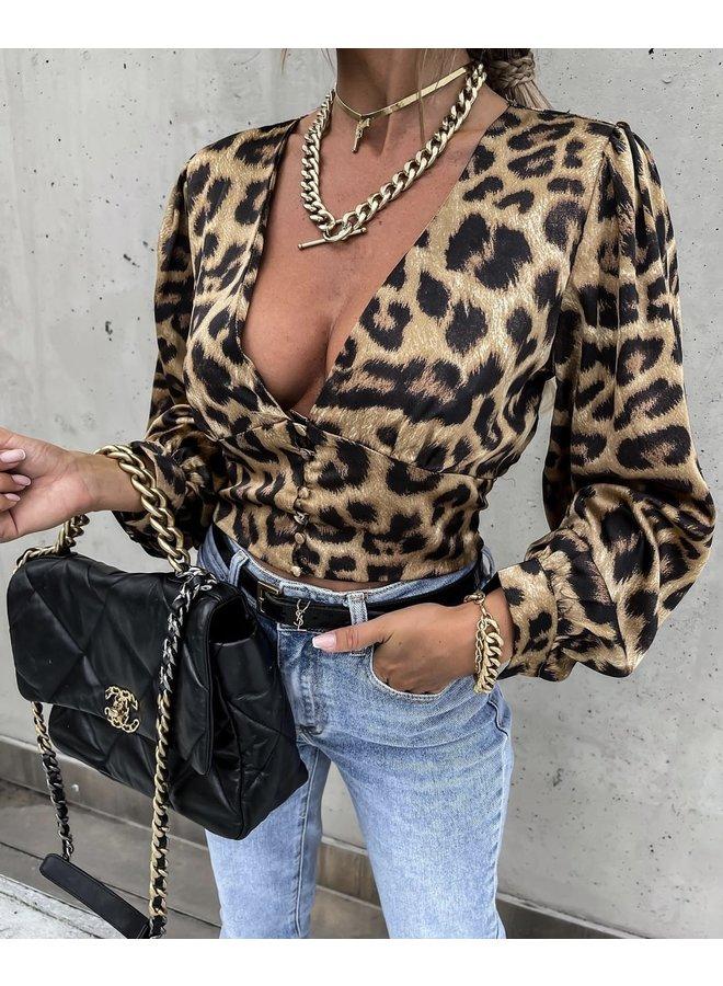Silk leo top