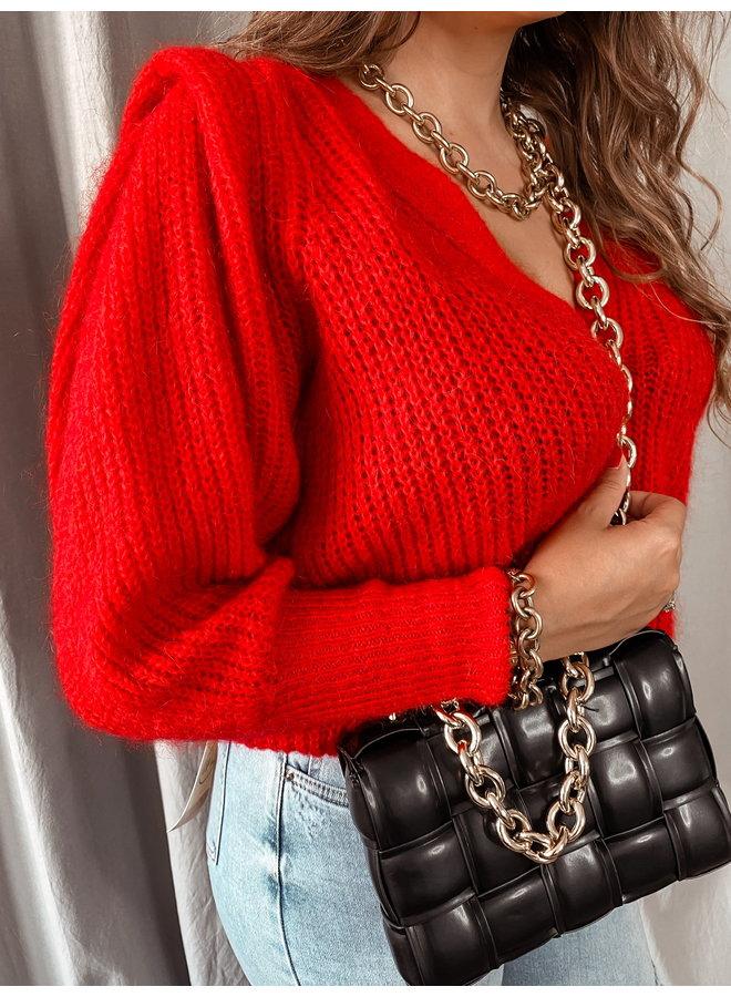 puff cardigan red