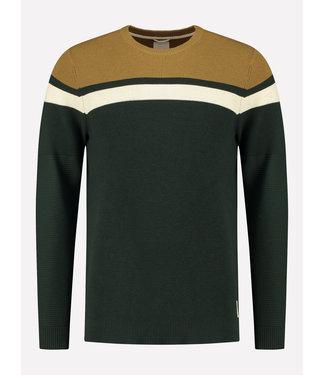 Dstrezzed Sweater donkergroen, wit & geel