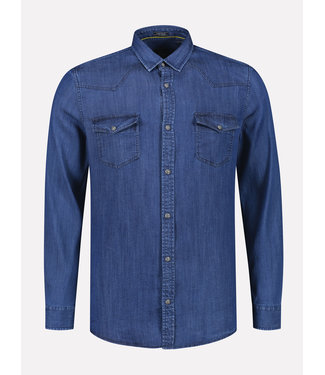 Dstrezzed Overhemd spijkerstof blauw