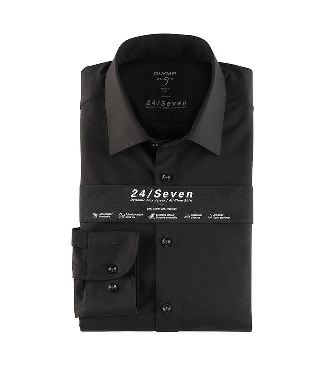 Olymp 24/Seven Body Fit  Overhemd Zwart, 20086468