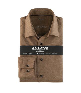 Olymp 24/Seven Modern Fit  Overhemd Bruin, 12026428