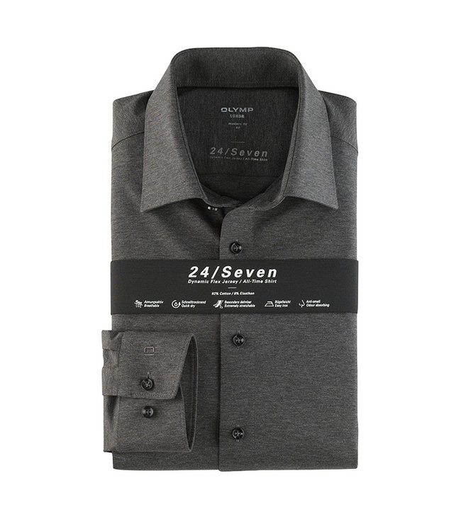 Olymp 24/Seven Modern Fit  Overhemd Grijs, 12026467