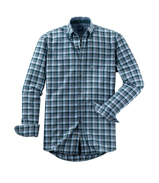Olymp Casual, Shirt Ruitshirt Blauw Groen, 40646449