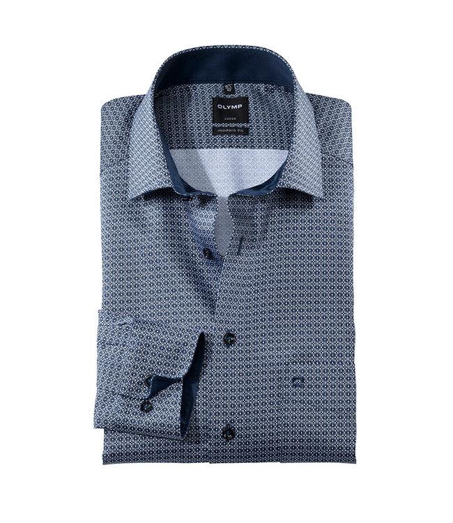 Olymp Modern Fit Overhemd Navy Print, 13406418