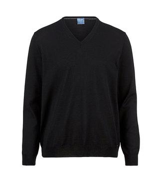 Olymp Casual, V-hals Pullover Zwart, 01501068