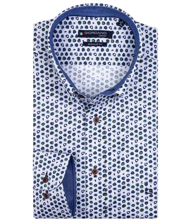 Giordano Overhemd Lichtblauw-Groen Print