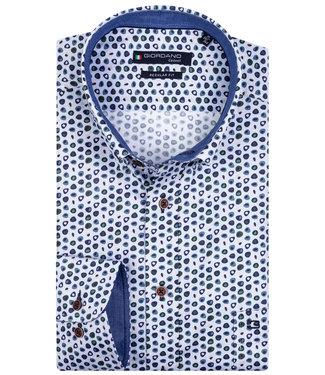 Giordano Overhemd Blauw-Wit-Rood Print