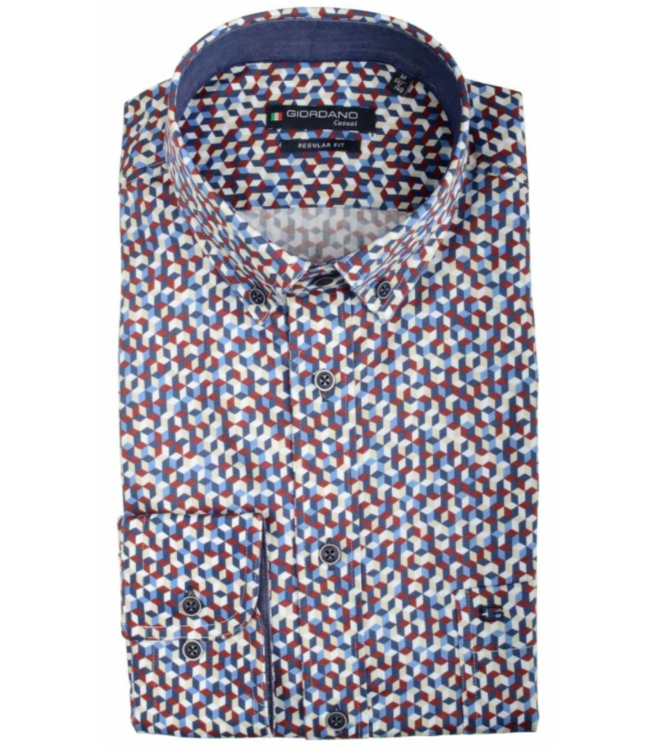Giordano Overhemd Blauw, Wit en Rood print