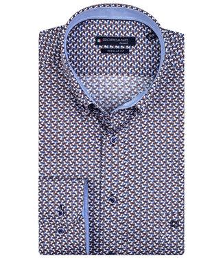 Giordano Overhemd Blauw, Wit, Bruin Print