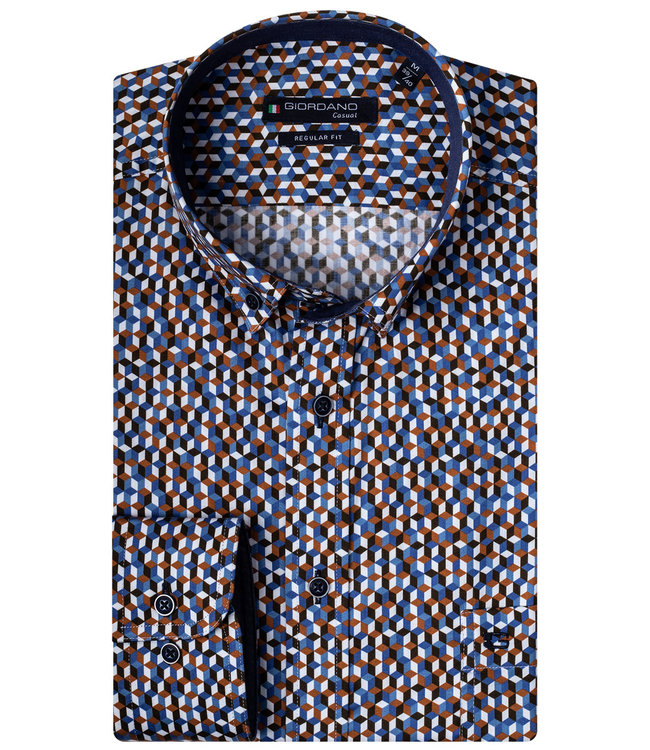 Giordano Overhemd Blauw, Wit en oranje print