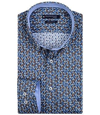 Giordano Overhemd  Blauw-Oranje print rondjes