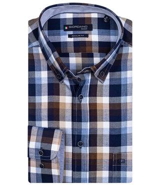 Giordano Overhemd Blauw Bruin geruit