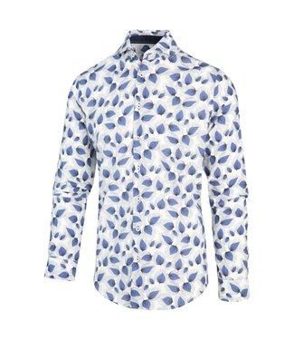 Blue Industry Overhemd wit met blauwe bladeren