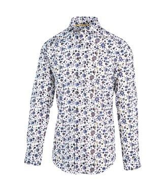 Blue Industry Overhemd wit met gekleurde stippen