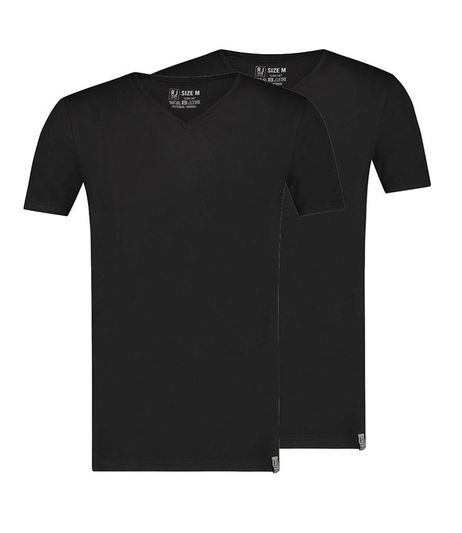 RJ Bodywear 2-Pack, T-shirt V-neck Athens Zwart