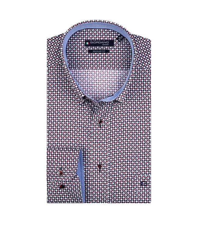 Giordano Overhemd Rood-Blauw Print